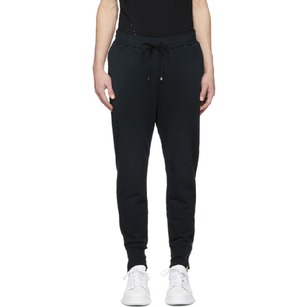 Miharayasuhiro Black Damaged Track Trousers