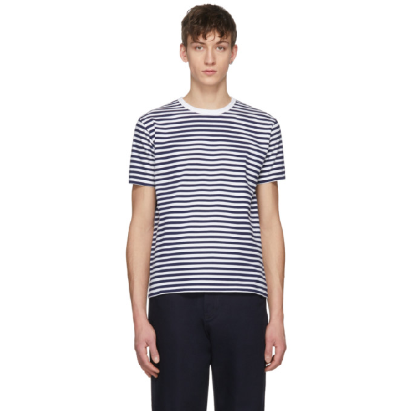 Nanamica Navy And White Striped Coolmax T-shirt In Navy White