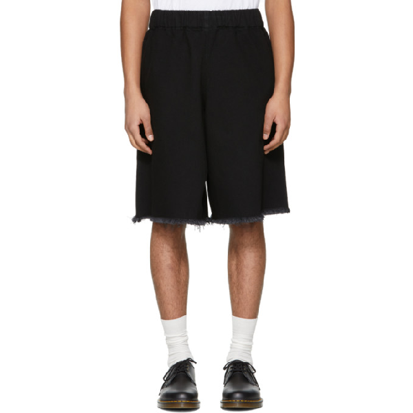 Marques' Almeida Marques Almeida Ssense Exclusive Black Denim Tracksuit Shorts