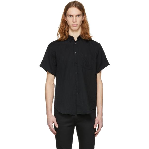 Naked And Famous Denim Black Short Sleeve Gauze Shirt