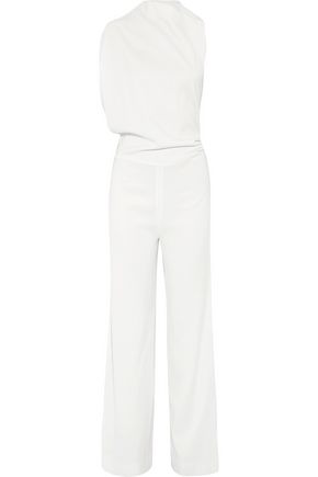 Osman Woman Open-back Gathered Wool-blend Jumpsuit White