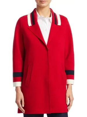 Emporio Armani Varsity Stripe Knit Caban Coat In Red