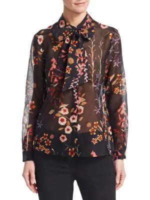 Emporio Armani Floral Neck-tie Shirt In Fantasia Nero