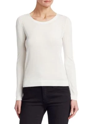 Emporio Armani Long Sleeve Crew Neck Sweater In White