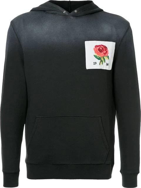Kent & Curwen Embroidered Rose Hoodie In Grey