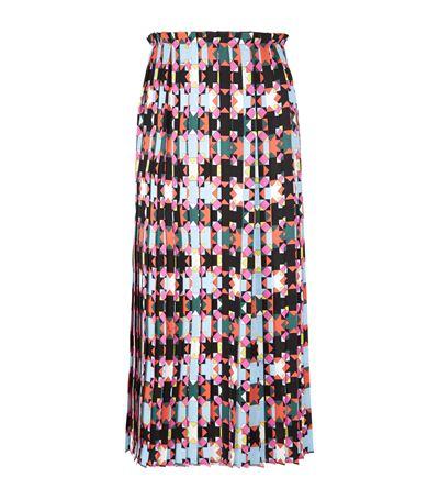 Emilio Pucci Woman Printed Pleated Silk Midi Skirt Fuchsia