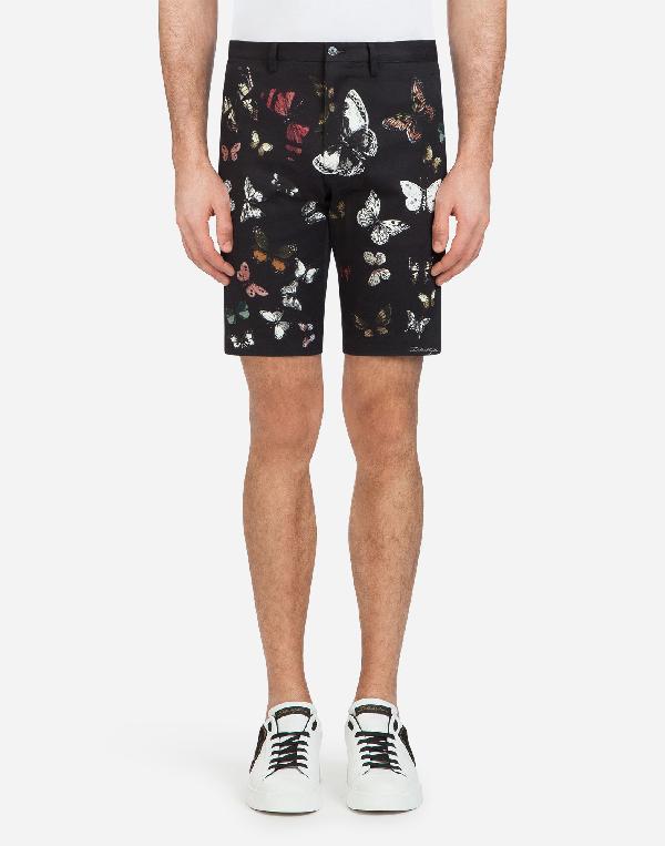 Dolce & Gabbana Printed Cotton Bermuda Shorts In Black