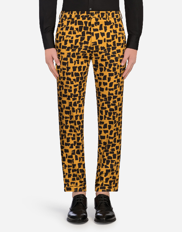 Dolce & Gabbana Printed Cotton Pants In Multicolor