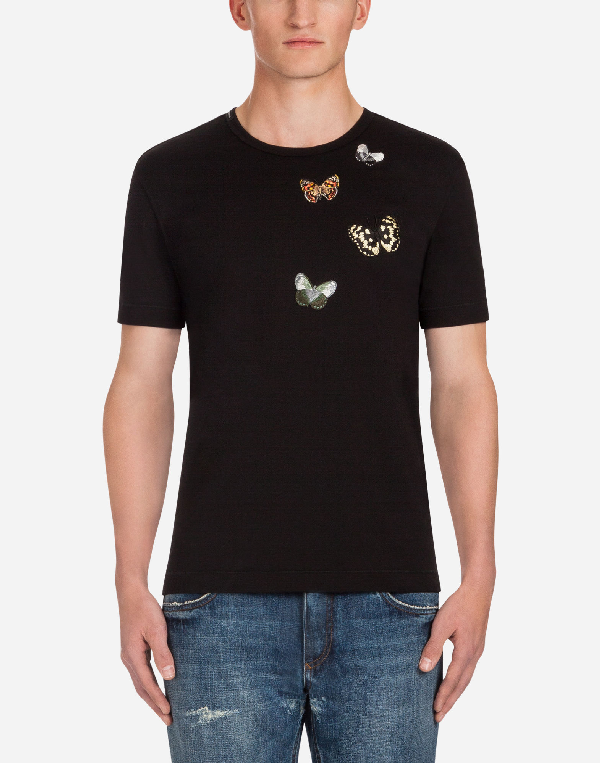 Dolce & Gabbana Cotton T-shirt With Patches In Black
