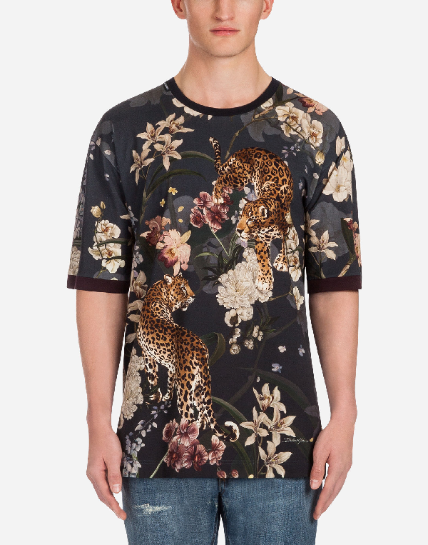 Dolce & Gabbana Printed Cotton T-shirt In Multicolor