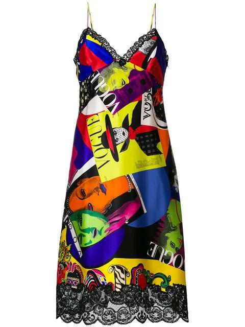 Versace Vogue Print Lace Camisole Dress