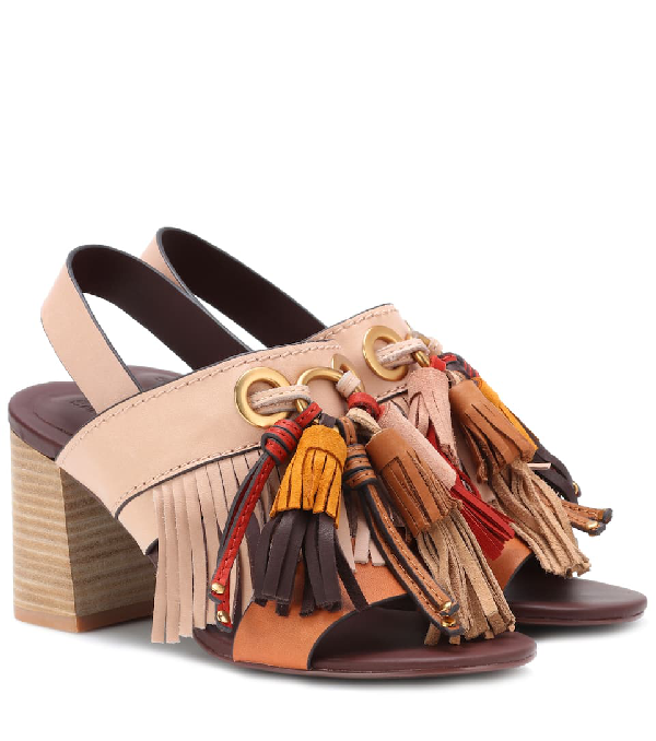 See By ChloÉ Tasselled Leather Sandals In Beige