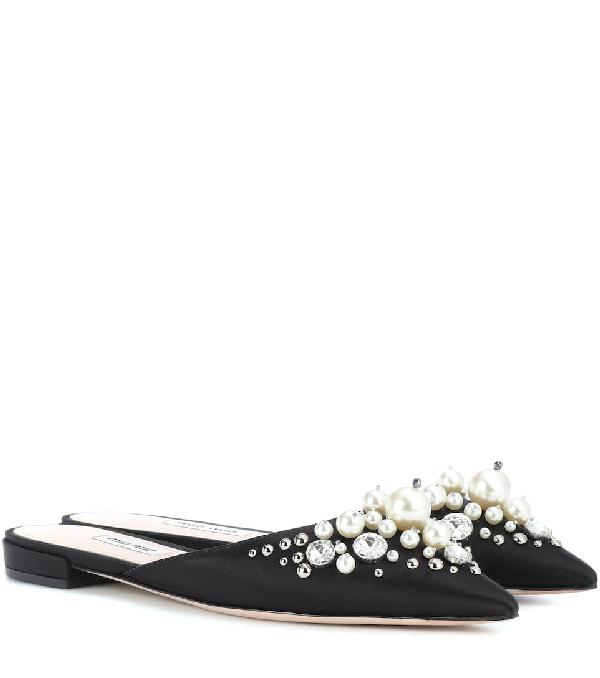 Miu Miu Exclusive To Mytheresa.com - Embellished Satin Slippers In Black