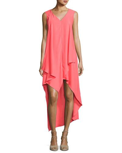 Nicole Miller High-low Sleeveless Crepe Dress, Medium Pink