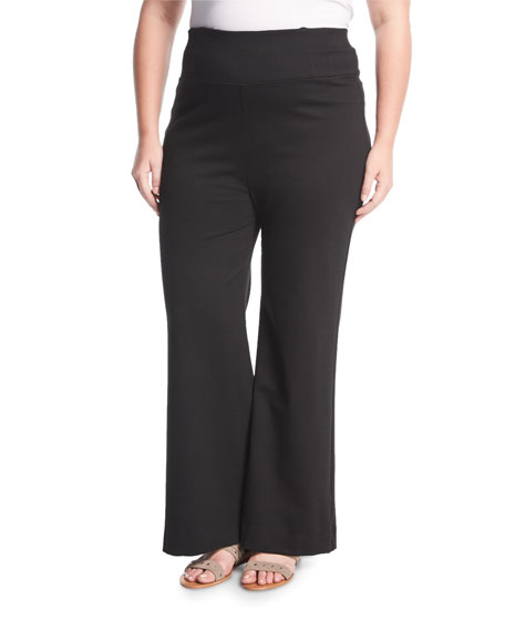 Three Dots Plus High-rise Sailor Pants, Plus Size In Black
