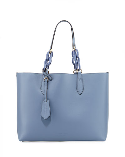 Burberry Grained Leather Tote Bag In Blue