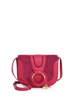 See By ChloÉ Hana Mini Suede & Leather Crossbody Bag In Berry Pink