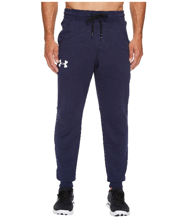 Under Armour Rival Cotton Jogger In Midnight Navy/white