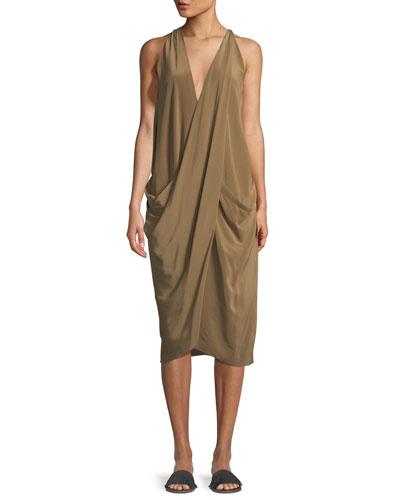 Urban Zen Washed Silk Drape-front Dress In Light Green