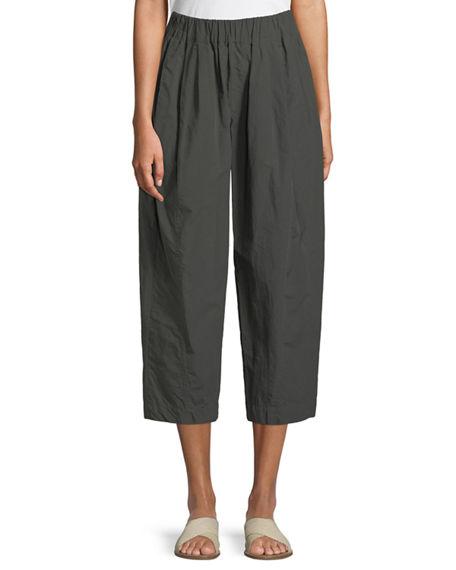 Urban Zen Cropped Poplin Pull-on Pants In Green