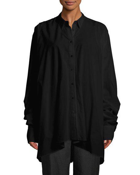 Urban Zen Long-sleeve Lantern Shirt In Black