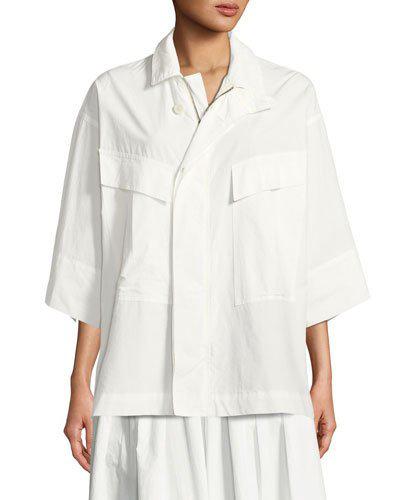 Urban Zen Front-zip Poplin Utility Shirt In Ivory