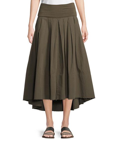 Urban Zen Poplin Safari A-line Skirt In Green