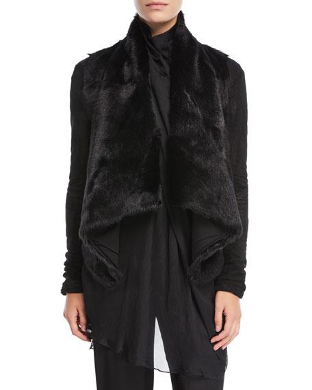 Urban Zen Draped Goat Fur Jacket In Black
