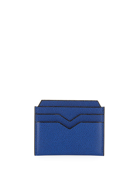 Valextra Textured Leather Card Case In Royal