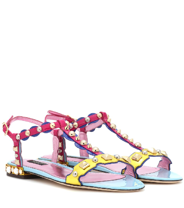 Dolce & Gabbana Sandal In Mixed Materials With AppliquÉS And Jewel Heel In Pink