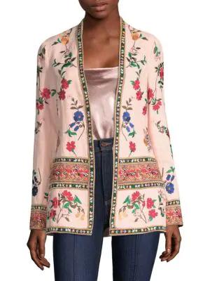 Alice And Olivia Jerri Embroidered Open Front Blazer In Blush Multi