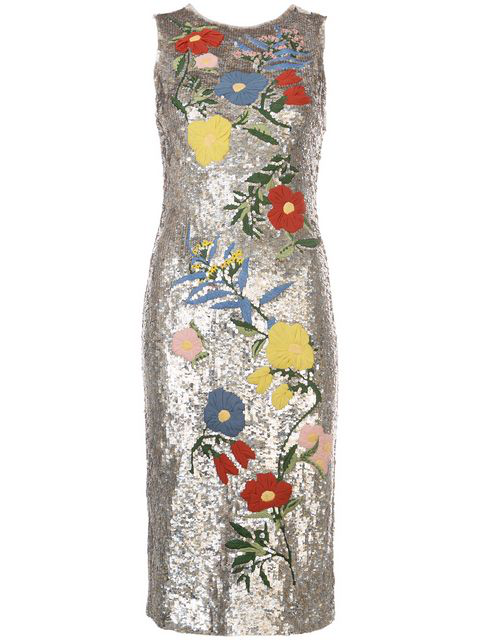 Alice And Olivia Nat Sleeveless Sequined Floral-embroidered Sheath Cocktail Dress In Antique Silver/multi