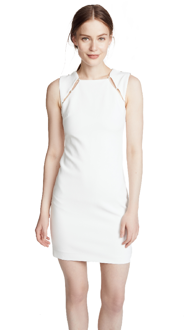 Alice And Olivia Kristiana Fitted Cocktail Sheath Dress W/ Inserts In Off White