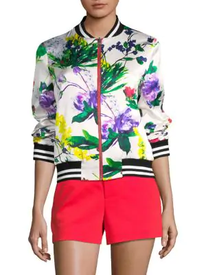 Alice And Olivia Alice + Olivia Lonnie Reversible Floral Print Bomber Jacket In Perfect Poppy