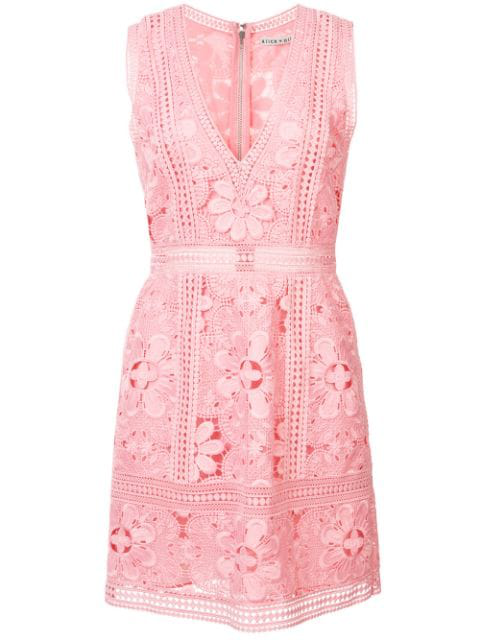 Alice And Olivia Zula Sleeveless V-neck Lace Mini Party Dress In Pink