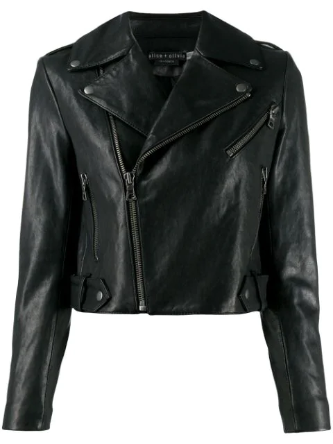 Alice And Olivia Alice + Olivia Cody Cropped Leather Moto Jacket In A001 Black