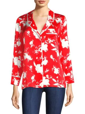 Alice And Olivia Keir Floral-print Silk Satin Blouse In Floral Damask Poppy