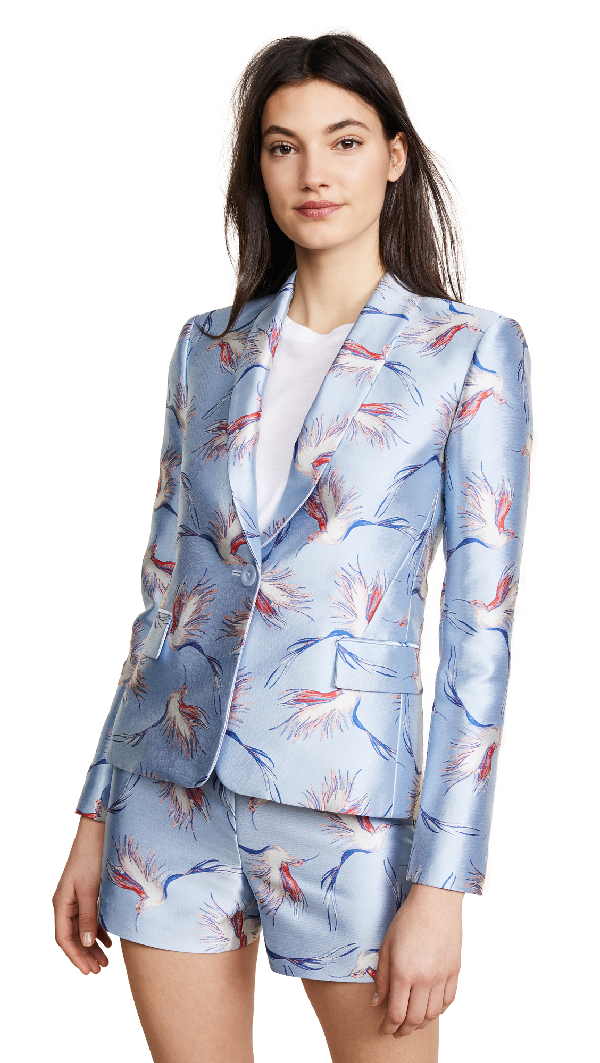 Alice And Olivia Macey One-button Bird-print Satin Jacket In Cerulean/multi