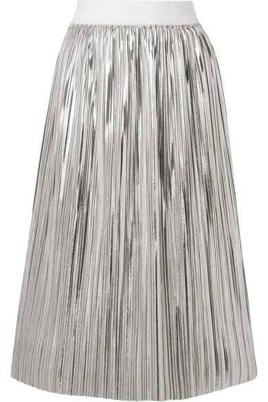 c66517975b Alice And Olivia Alice + Olivia Mikaela Metallic Pleated Skirt In Silver