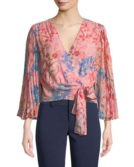 Alice And Olivia Bray Pleated-sleeve Floral-print Silk Wrap Blouse In Pink Pattern