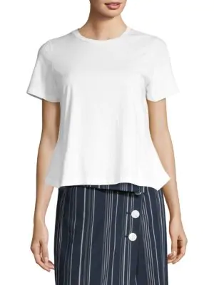 Robert Rodriguez Ruffle Back Tee In White