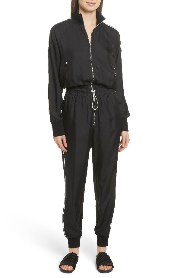 Robert Rodriguez Silk Striped Jumpsuit In Black