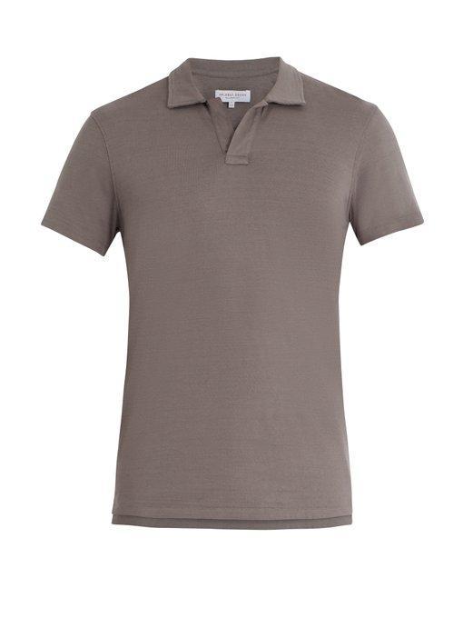 Orlebar Brown Felix Cotton-jersey Polo Shirt In Grey