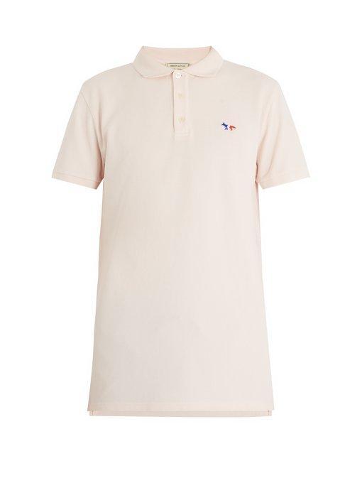 Maison KitsunÉ Fox-appliquÉ Cotton-piquÉ Polo Shirt In Pink