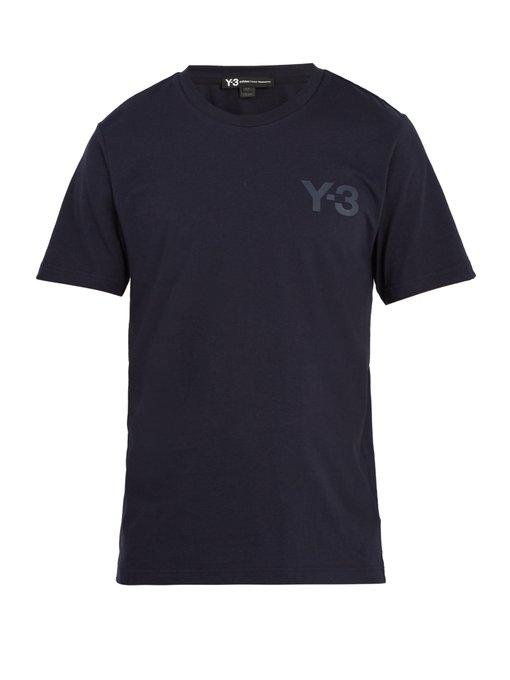 Y-3 Logo-print Cotton T-shirt In Navy