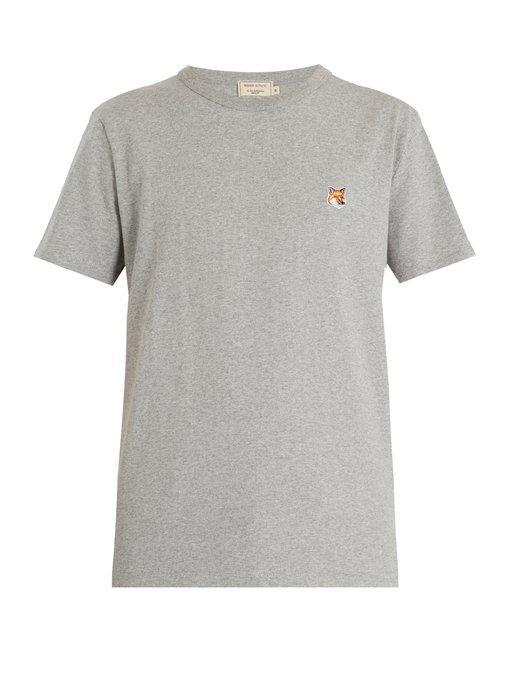 Maison KitsunÉ Fox-appliquÉ Cotton-jersey T-shirt In Grey