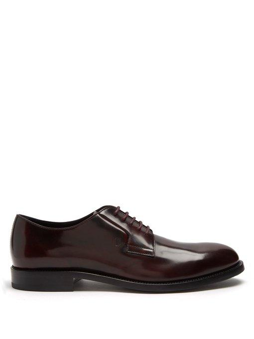 Tod's Lace-up Leather Derby Shoes In Burgundy