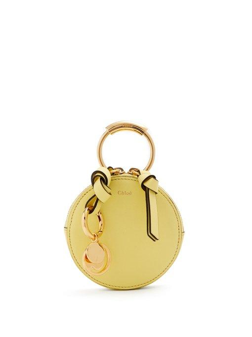 ChloÉ Round Mini Leather Coin Purse In Light Yellow