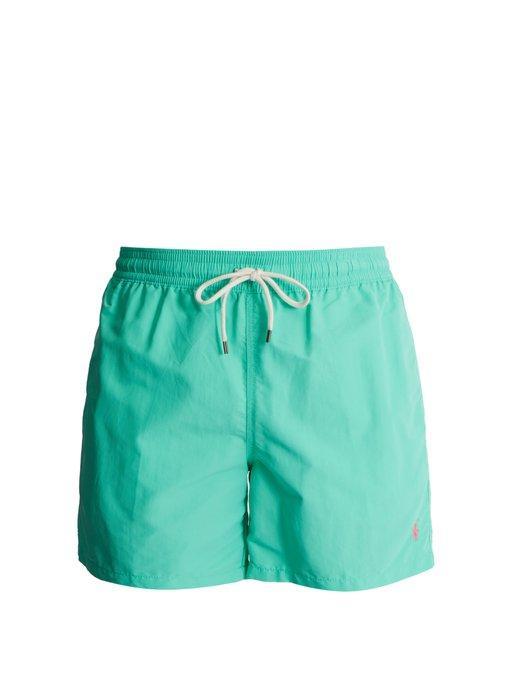 Polo Ralph Lauren Embroidered Logo Swim Shorts In Green