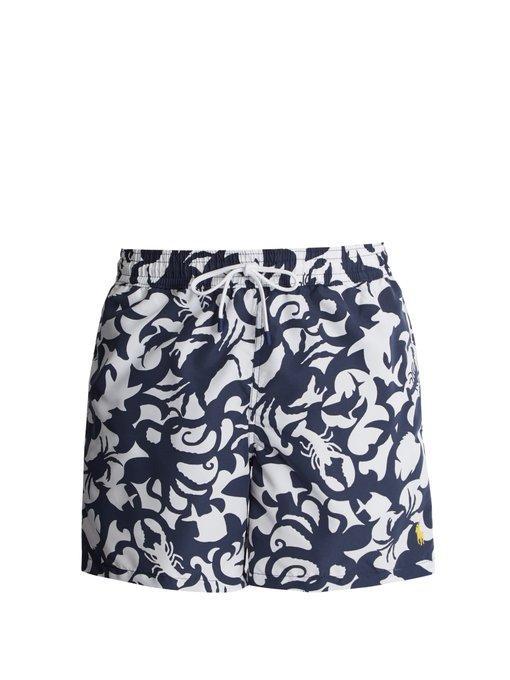 Polo Ralph Lauren Underwater-print Swim Shorts In Navy Multi